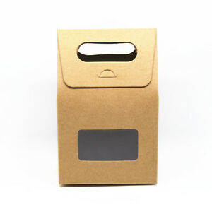 Brown Kraft Paper Package Boxes W Handle window For Gifts Wedding Favors