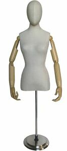 Mn 602 White Linen Ladies Egghead Dress Form With Articulate Arms