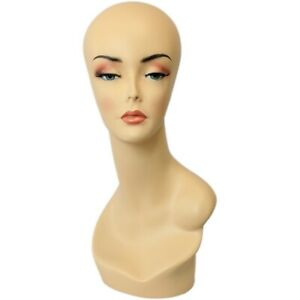 Mn 138 Female Mannequin Earless Head Form W Hand Painted Realistic Makeup