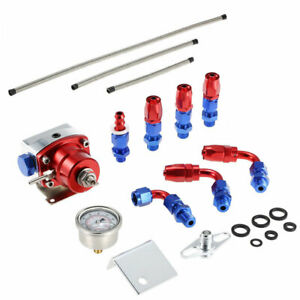 7mgte Mkiii Fuel Pressure Regulator Red With Hose Line Kit Fittings Gauge Set