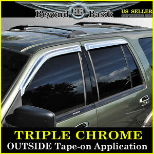 1997 2017 Ford Expedition Chrome Door Vent Window Visors Side Shade Rain Guards