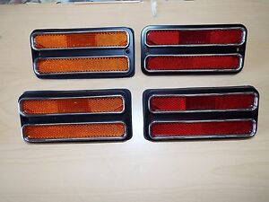 68 69 70 71 72 Chevy Gmc Pickup Truck 4 Side Marker Lamp Set Amber Red W Trim