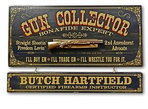 Personalized Gun Collector Vintage Wood Plank Sign Office Home Man Cave