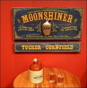 Personalized Moonshiner Vintage Wood Plank Sign Office Home Man Cave
