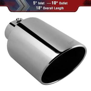 Polished Stainless Steel Bolt On Rear Exhaust Tip 5 Inlet 10 Outlet 18 Long