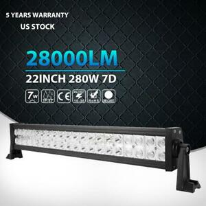24inch 22 280w Cree Led Work Light Bar Flood Spot Offroad Jeep Suv Atv Driving