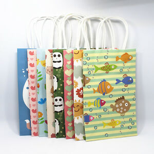 21x13x8cm Variety Of Style Kraft Paper With Handle Gift Bags Pack Pouch