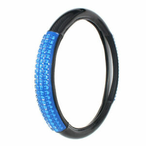 15 Inches Car Steering Wheel Cover Pu Leather Universal Fit Silica Gel Massage