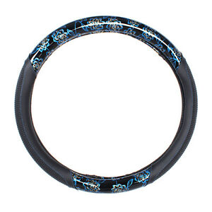 15 Inches Car Steering Wheel Cover Pu Leather Universal Blue Printed Design New
