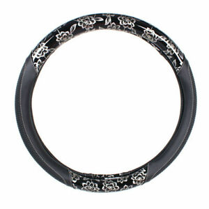 15 Inches Car Steering Wheel Cover Pu Leather Universal Silver Printed Design