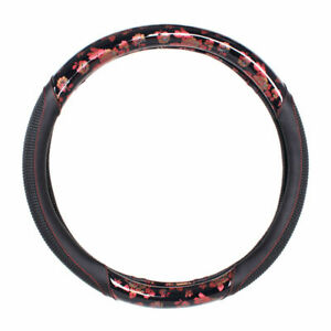 15 Inches Car Steering Wheel Cover Pu Leather Universal Red Printed Design New
