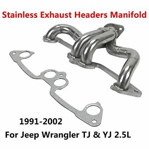 91 02 For Jeep Wrangler Tj Yj 2 5l Stainless Exhaust Headers Manifold System