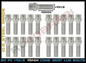 M14x1 5 Cone Conical Seat Lug Bolts 45mm Shank Audi Volkswagen Mercedes Benz