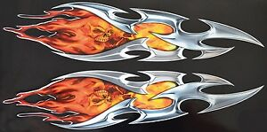 Motorcycle Auto Tribal Flame With Skull And Fire Sticker Decal