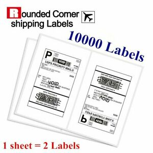 10000 Half Sheet Shipping Labels 8 5x5 5 Round Corner Self Adhesive For Usps Ups
