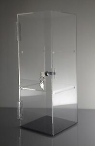 Acrylic Showcase Jewelry pastry Counter Display W door Lock 6 x 6 x 16