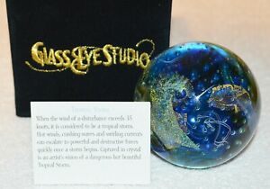 TROPICAL STORM Environmental Paperweight by Glass Eye Studio Made In USA SKU582