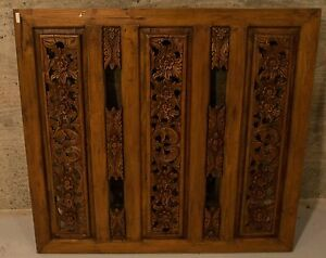 Antique Asian Hand Carved Wood Panel Art Deco