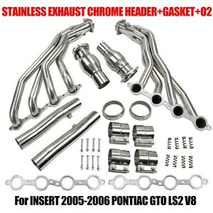 Stainless Exhaust Chrome Header gasket o2 For Insert 05 06 Pontiac Gto Ls2 V8