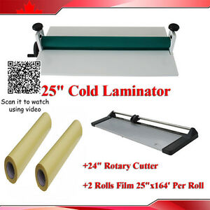 Laminating Kit 24in Rotary Paper Trimmer 25 5 Cold Laminator films Brand New