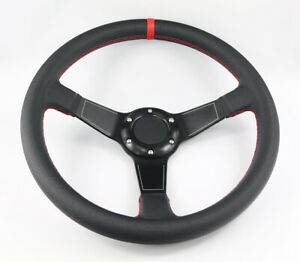 Universal 6 Hole Deep Dish 350mm Titanium Grey Red Stitch Racing Steering Wheel