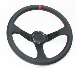 Universal 6 Hole Bolt Deep Dish 350mm Black Leather Racing Steering Wheel B