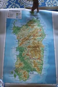 Old School Map Of Sardinia From Italy 2 Sided Plastic Pull Down