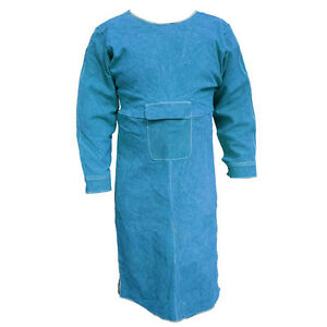 40 5 l Leather Welding Apron Heat Insulation Protection Safety Apron Coats Blue