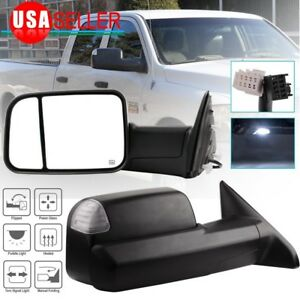 Pair For 2009 2015 Dodge Ram Truck Power Heated Led Puddle Signals Tow Mirrors
