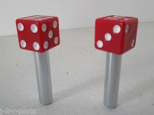 Door Lock Knobs Dice Red 1 Pair Fits Chevy Ford Mopar Hot Rod Classic 70040