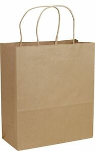 250 Recycled Brown Paper Bags Kraft Paper Shoppers Cub 8 1 4x4 3 4x10 1 2 15 rk