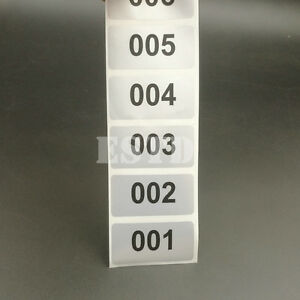 6000 Labels 1 To 6000 Consecutive Number Stickers Silver Waterproof