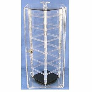 Jewelry Case Stand 18 5 acrylic 48card Rotating 360 W lock Key Bar For Earring