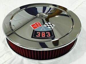 Chrome Chevrolet Air Cleaner 14 Round 4 Bbl Washable Red Filter 383 Decal New