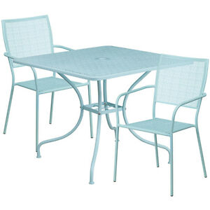 35 5 Square Sky Blue Indoor outdoor Patio Restaurant Table Set W 2 Chairs
