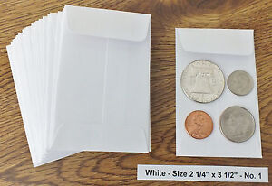 500 New Small 2 1 4 X 3 1 2 White Coin Envelopes 5 7x8 89cm coins Not Included