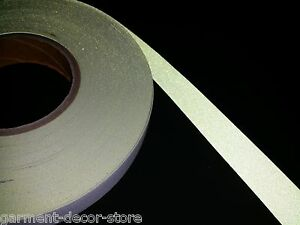 Yellow Flame Resistant Reflective Fabric Sew On Tape 25mm X 10m 1 X 10 9y
