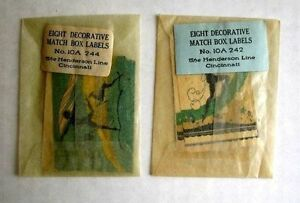 1920 Art Deco Style Match Box Labels In Original Package Mint Condition