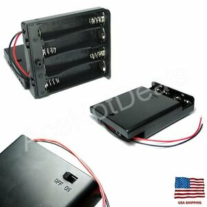 4 X Aa 6v Battery Holder Connector Storage Case Box On off Switch For Arduino