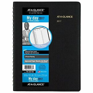 At a glance 2017 Planner Book Blk 10 88 Appointment 2person 12month Recycled
