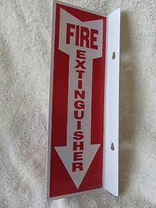 10 lot 4 X 12 Rigid Plastic 90 angle Fire Extinguisher Arrow Signs New tape