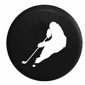 Hockey Player Skating with Puck Trailer Spare Tire Cover OEM Vinyl