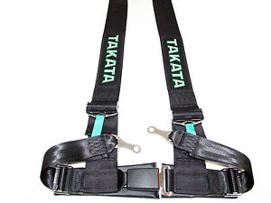 Takata Drift Iii 4 Point Bolt On 3 Racing Seat Belt Harness Black