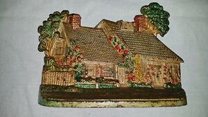 Antique Hubley Colorful Painted Cast Iron Cottage House Doorstop No 444
