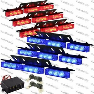 54 Led Red Blue Emergency Warning Strobe Hazard Lights Bars Deck Dash Grill