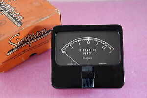 Simpson Kilovolts Plate 0 3 Model 29 Rare Panel Meter New Old Stock