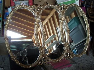 Large Vintage Triple Oval Gold Mirror Tri Circles Hollywood Regency Decor