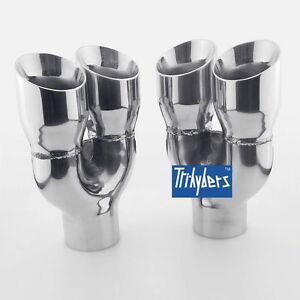 Pair 2 5 Inlet Exhaust Tip Double Wall Twin Round Slant Cut 3 Outlet Tailpipe