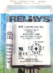 Nte R32 11d10 24k Relay 24vdc 10a Dpdt Delay On Release Time Delay 11 Pin Octal