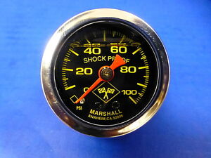 Marshall Gauge 0 100 Psi Fuel Pressure Oil Pressure 1 5 Midnight Chrome Liquid